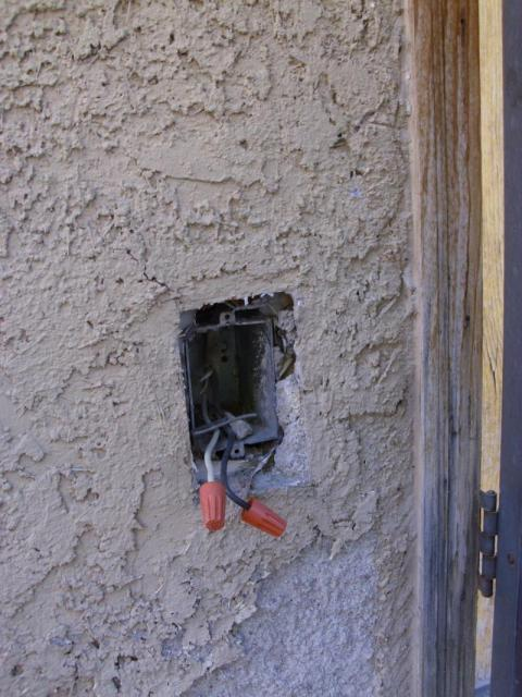 Electrical wiring exposed