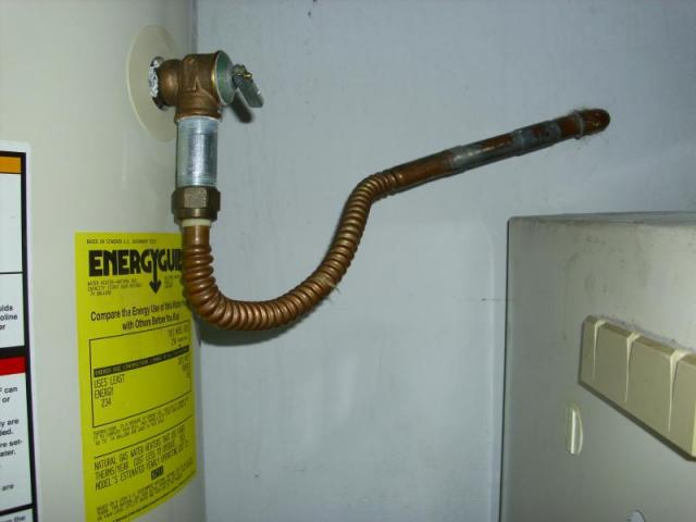 Water trap in TPR valve on water heater